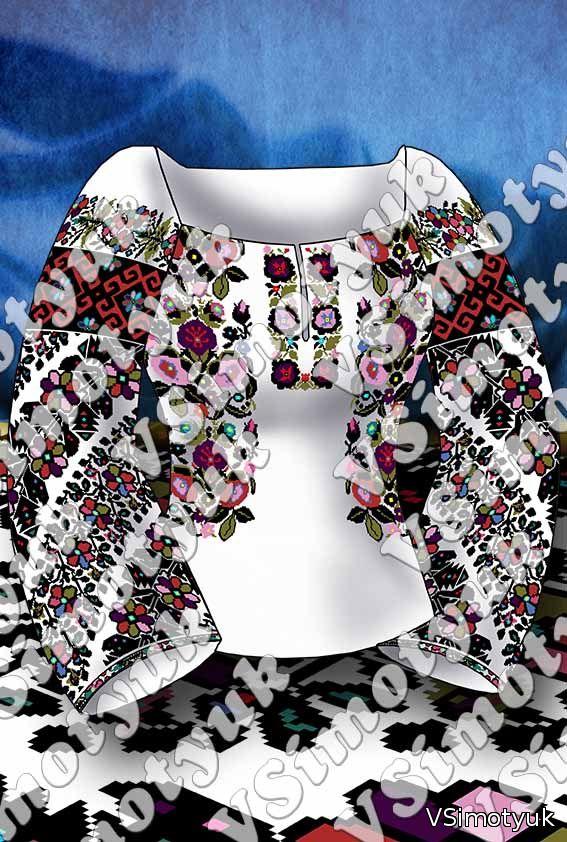 Пропоную схему сучасної вишиванки жіночої сорочки